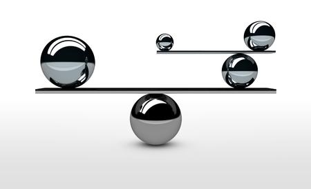 Balancing das perfekte System, Lifestyle und Business-Balance-Konzept mit ausgewogenen Kugeln in verschiedenen Größen 3D-Darstellung. Standard-Bild