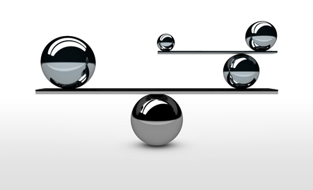 balance concept: Balancing the perfect system, lifestyle and business balance concept with balanced balls of different sizes 3D illustration. Stock Photo