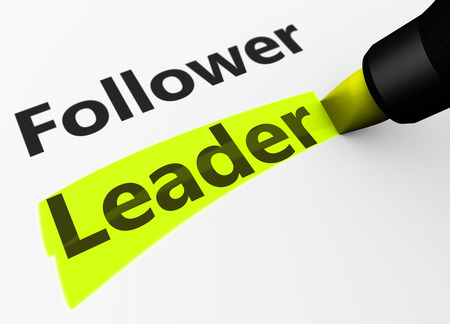 leadership concept: Business leadership concept with a 3d rendering of follower and leader word and text highlighted with a yellow marker.