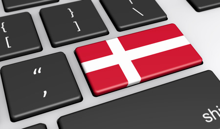 danish flag: Denmark digitalization and use of digital technologies concept with the Danish flag on a computer key 3D illustration. Stock Photo