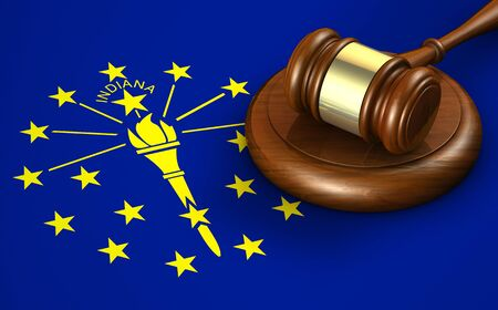 legal law: Indiana US state law, code, legal system and justice concept with a 3D rendering of a gavel on the Indiana state flag on background. Stock Photo