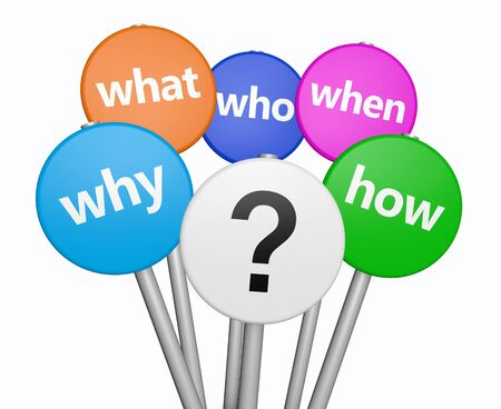 questioning: Business and customers questions concept with question mark symbol and questions words on colorful sign 3D illustration isolated on white background. Stock Photo