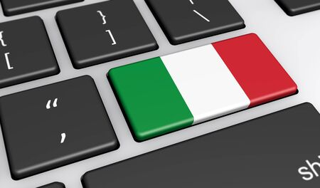 italy culture: Italy digitalization and use of digital technologies concept with the Italian flag on a computer key 3D illustration.
