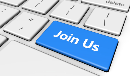 join: Join us sign and letters on a blue computer keyboard button web and online business concept 3d illustration.