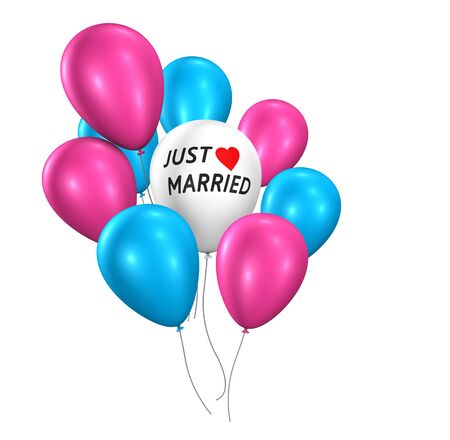 wedding ceremony: Wedding day party and ceremony concept with just married sign and wedding balloons 3d illustration isolated on white background. Stock Photo