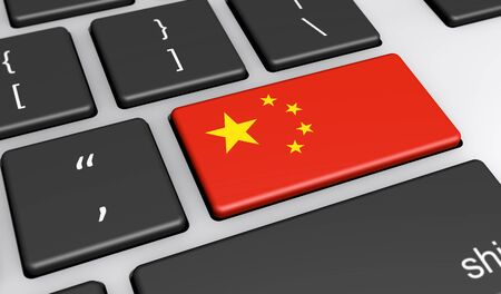 translating: China digitalization and use of digital technologies concept with the Chinese flag on a computer key 3D illustration. Stock Photo