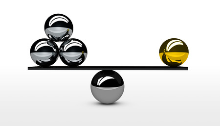 quantity: Balancing business quality versus quantity balance conceptual graphic for business and marketing concept 3D illustration.