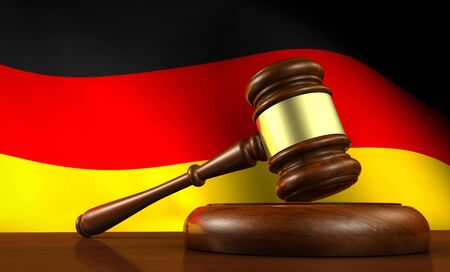 legality: Germany laws, legal system and justice concept with a 3D rendering of a gavel and the German flag on background. Stock Photo