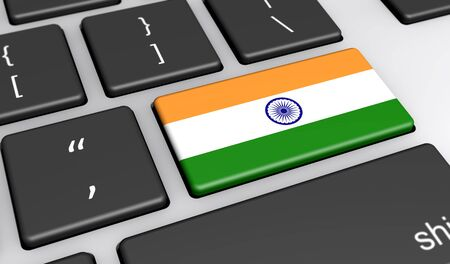 computer key: India digitalization and use of digital technologies concept with the Indian flag on a computer key 3D illustration.