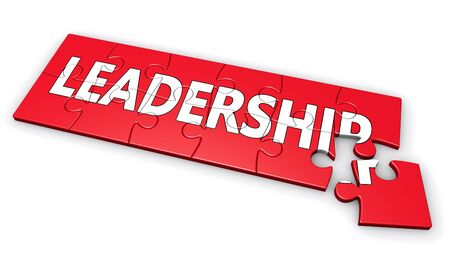 leadership development: Business leadership development concept with leadership sign and word on a red puzzle 3D illustration isolated on white background.