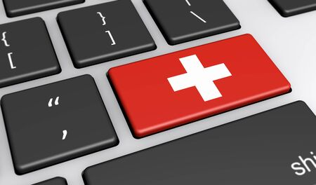 swiss flag: Switzerland digitalization and use of digital technologies concept with the Swiss flag on a computer key 3D illustration.