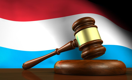 legal system: Luxembourg laws, legal system and justice concept with a 3D rendering of a gavel and the Luxembourg flag on background.