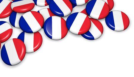frances: pabellón francés en el pin insignias imagen Ilustración 3d para el día nacional de eventos Francia, fiesta, conmemorativo y la celebración.