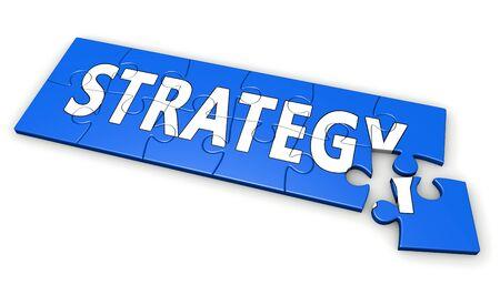 pensamiento estrategico: estrategia de negocio concepto de desarrollo con el signo de la estrategia y la palabra en un rompecabezas azul ilustración 3D aislada en el fondo blanco.