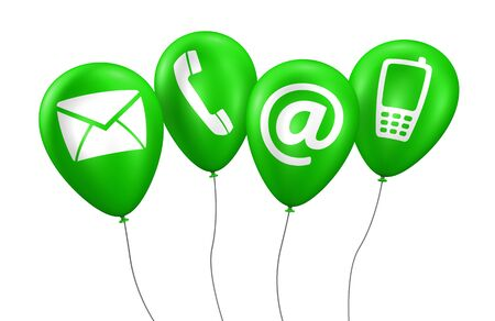green balloons: Website and Internet contact us concept with icons and symbol on green balloons 3D illustration isolated on white background.