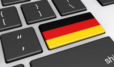 computer key: Germany digitalization and use of digital technologies concept with the German flag on a computer key 3d illustration.