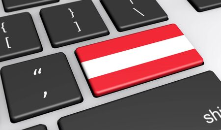 computer key: Austria digitalization and use of digital technologies concept with the Austrian flag on a computer key 3d illustration.