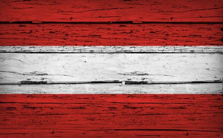 aged wood: Austria grunge wood background with Austrian flag painted on aged wooden wall. Stock Photo