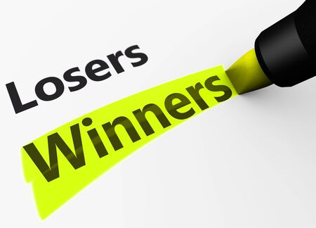 losers: Winning business and lifestyle versus losers concept with a 3d rendering of winner word and text highlighted with a yellow marker.