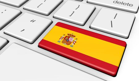 spanish flag: Spain digitalization and use of digital technologies concept with the Spanish flag on a computer key 3d illustration.