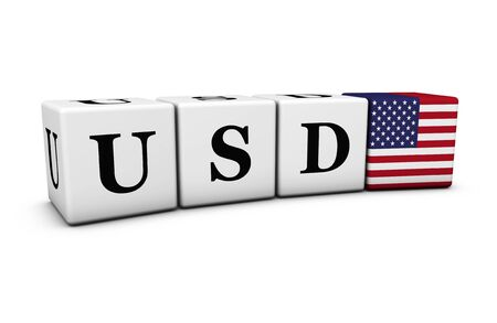 usd: USD USA dollars currency code, exchange market and financial trading concept with usd sign and US flag on cubes on white background 3D illustration. Stock Photo