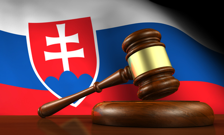 lawsuit: Slovakia laws, legal system and justice concept with a 3D rendering of a gavel and the Slovak flag on background. Stock Photo