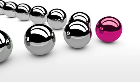 leadership concept: Business leadership concept with a pink leader sphere and silver followers 3D illustration. Stock Photo