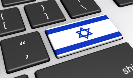 computer key: Israel digitalization and use of digital technologies concept with the Israeli flag on a computer key 3d illustration.