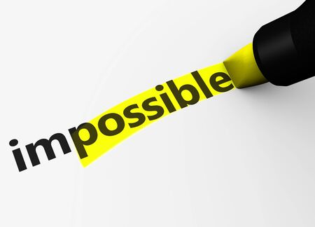 possibility: Positive thinking business concept with impossible text and sign and possible letters highlighted with a yellow marker 3D illustration.