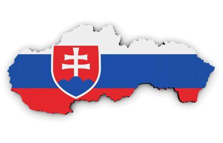 slovakian: Slovakia shape and map with Slovakian flag symbol 3D illustration isolated on white background.