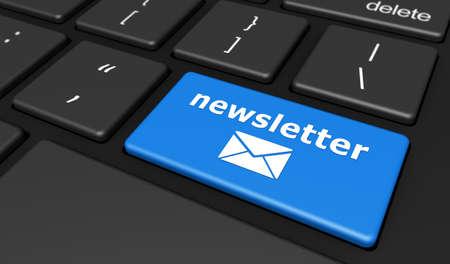 Concepto del boletín de noticias con el icono de la muestra y del correo electrónico del boletín de noticias en un ejemplo azul del botón 3D del teclado de computadora. Foto de archivo