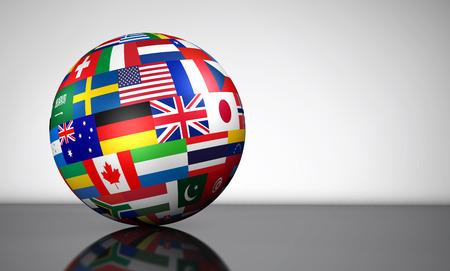 negocios internacionales: Indicadores del mundo en un globo negocio, la escuela, los servicios internacionales de viaje y concepto de gestión global ilustración 3d. Foto de archivo