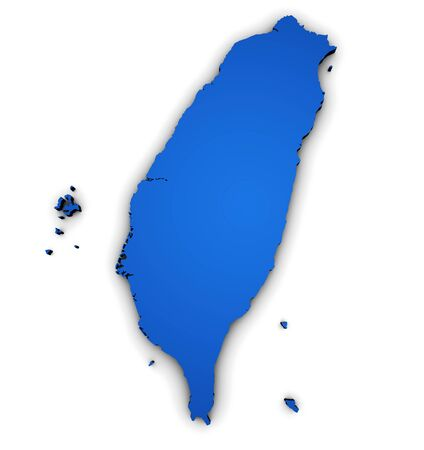 taiwanese: Taiwanese shape with blue Taiwan map 3d illustration isolated on white background.