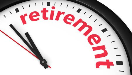 retire: Time to retire lifestyle retirement planning concept with a clock and retirement sign printed in red 3D illustration image. Stock Photo