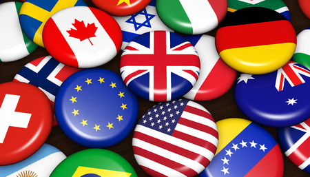 International and global business concept with world flags on scattered pin badges background 3d illustration. Stok Fotoğraf