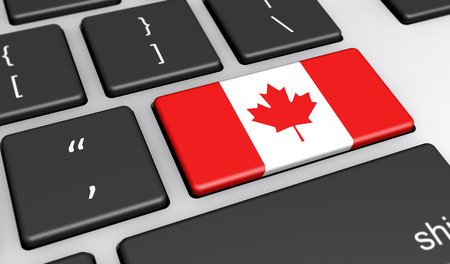 canada: Canada digitalization and use of digital technologies concept with the Canadian flag on a computer key 3d illustration.