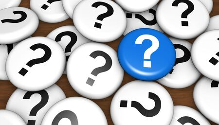 Question mark icon and symbol on pin badges business customer questions concept 3d illustration.