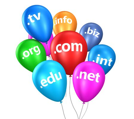 edu: Domain name concept with Internet and web domain names sign on colorful floating balloons 3D illustration isolated on white background. Stock Photo