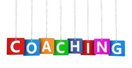 Coaching lifestyle en business concept met coaching ondertekenen en woord op kleurrijke document markeringen 3D-afbeelding op een witte achtergrond. Stockfoto