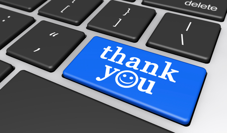 give: Thank you sign and word with happy smiley face symbol on a computer key 3D illustration.