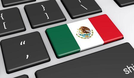 drapeau mexicain: Mexique digitalisation et la mise en réseau avec le concept drapeau mexicain sur une illustration 3D de clavier d'ordinateur.