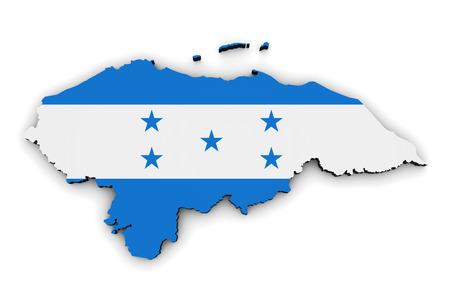bandera honduras: Honduras mapa y forma con el s�mbolo de la bandera de Honduras ilustraci�n 3D aislada en el fondo blanco. Foto de archivo