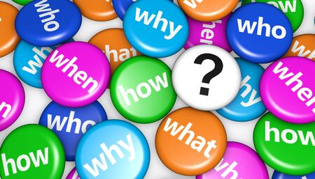 interrogation point: Question mark and customers questions concept with question words and sign on colorful pin badges 3d illustration. Stock Photo