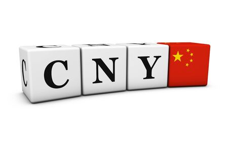 renminbi: China currency code, chinese exchange market and financial concept with CNY Chinese Yuan Renminbi sign and the flag of China 3D illustration.