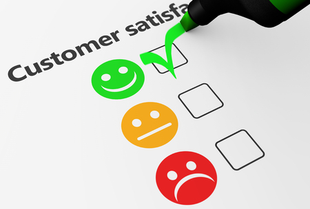Customer satisfaction happy feedback rating checklist and business quality evaluation concept 3D illustration. 스톡 콘텐츠