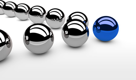 Business leadership concept with a blue leader sphere and silver followers 3D illustration.