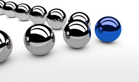 lider: concepto de la dirección de negocios con una esfera azul líder y los seguidores de plata Ilustración 3D. Foto de archivo