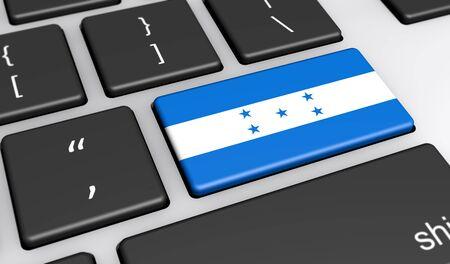 bandera honduras: Honduras digitalization and networking concept with Honduras flag on a computer keyboard 3D illustration. Foto de archivo