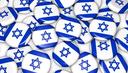national holiday: Israel flag on pin badges 3d illustration background image for national Israeli day events, holiday, memorial and celebration.