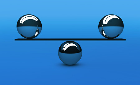 Balance concept with perfect balancing between two silver balls 3d illustration on blue background.
